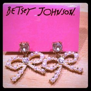 Betsey Johnson Pearl Bow Crystal Dangle Earrings